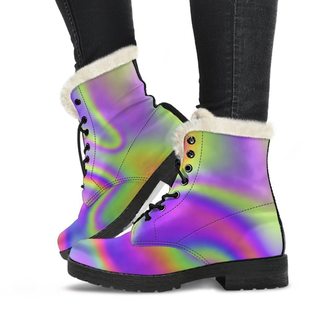 Abstract Holographic Trippy Print Comfy Boots GearFrost