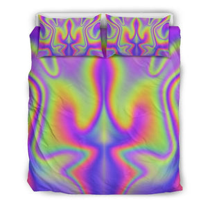 Abstract Holographic Trippy Print Duvet Cover Bedding Set GearFrost