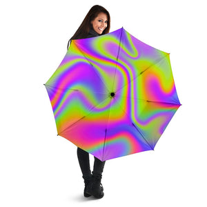 Abstract Holographic Trippy Print Foldable Umbrella GearFrost