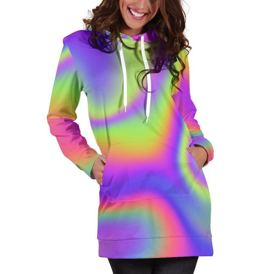 Abstract Holographic Trippy Print Hoodie Dress GearFrost