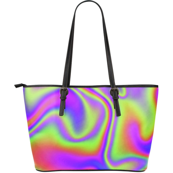 Abstract Holographic Trippy Print Leather Tote Bag GearFrost
