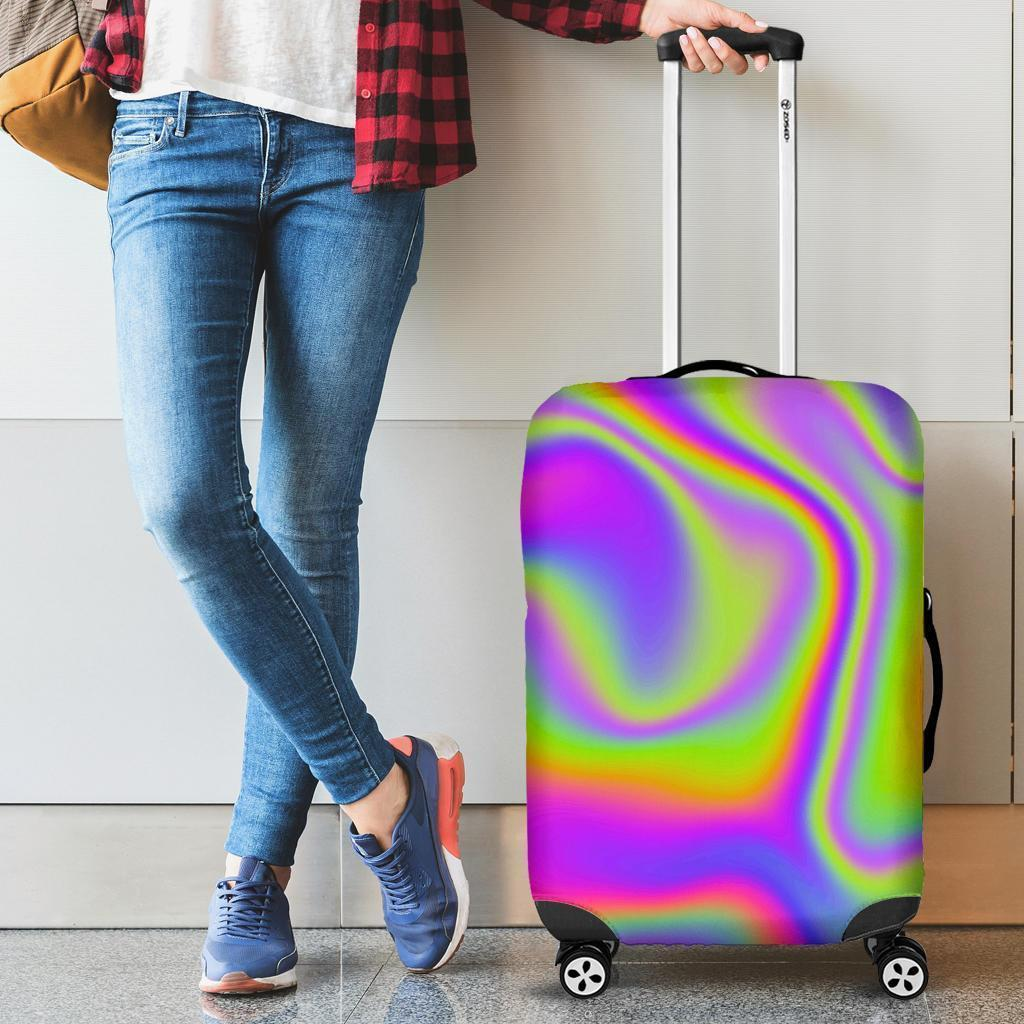 Abstract Holographic Trippy Print Luggage Cover GearFrost