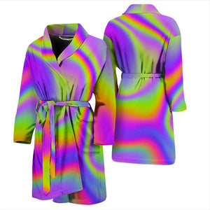 Abstract Holographic Trippy Print Men's Bathrobe GearFrost