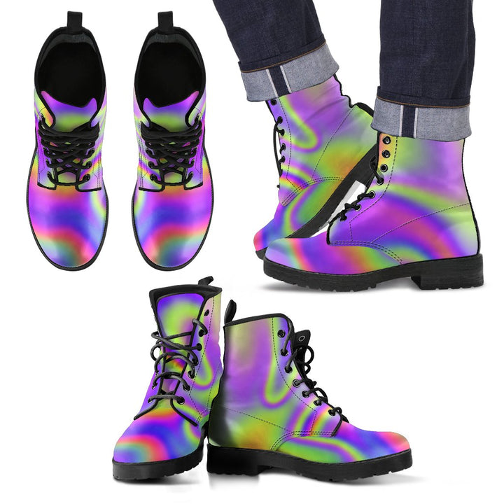 Abstract Holographic Trippy Print Men's Boots GearFrost