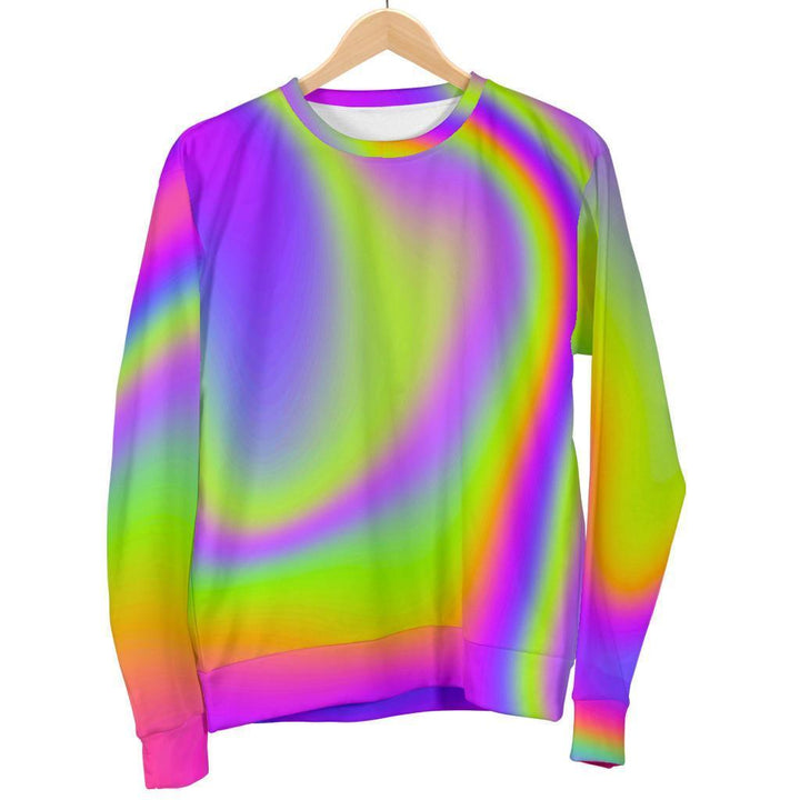 Abstract Holographic Trippy Print Men's Crewneck Sweatshirt GearFrost