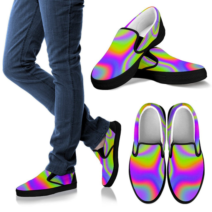 Abstract Holographic Trippy Print Men's Slip On Shoes GearFrost