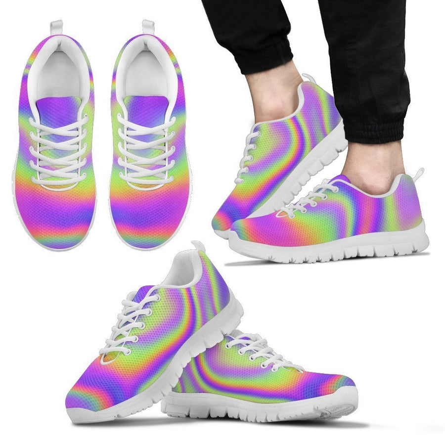 Abstract Holographic Trippy Print Men's Sneakers GearFrost
