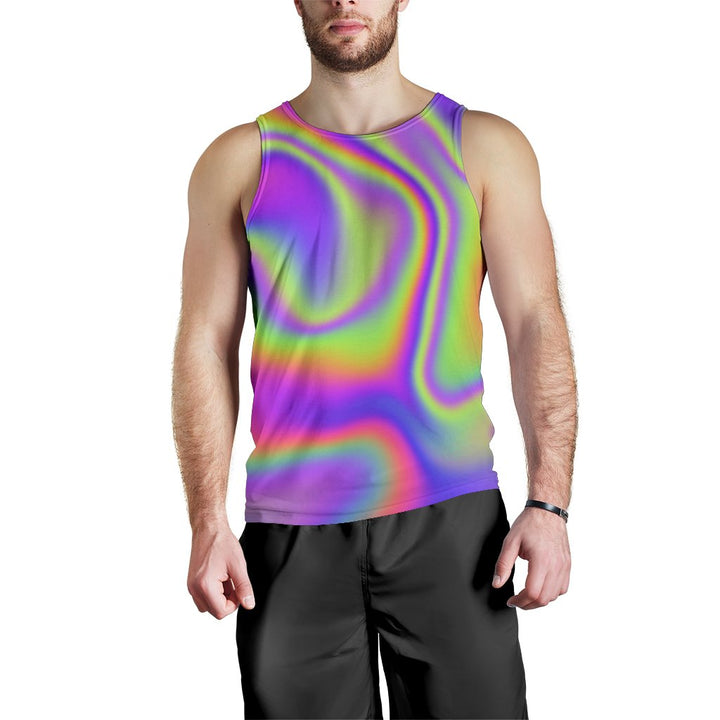 Abstract Holographic Trippy Print Men's Tank Top GearFrost