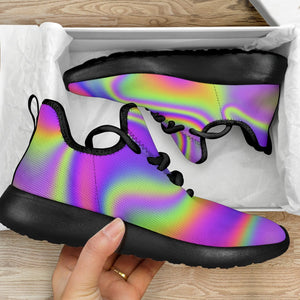 Abstract Holographic Trippy Print Mesh Knit Shoes GearFrost