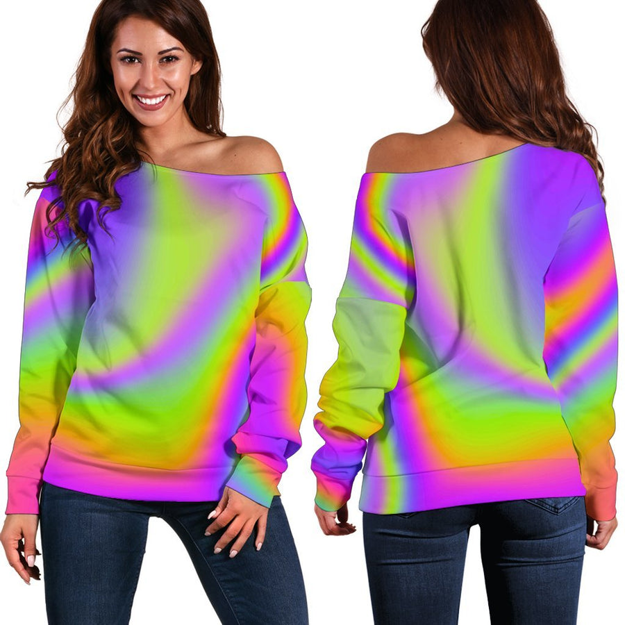 Abstract Holographic Trippy Print Off Shoulder Sweatshirt GearFrost