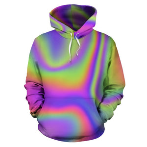 Abstract Holographic Trippy Print Pullover Hoodie GearFrost