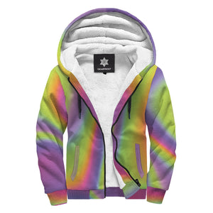 Abstract Holographic Trippy Print Sherpa Lined Fleece Hoodie GearFrost