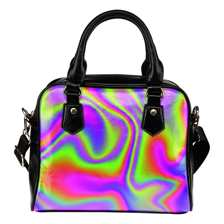 Abstract Holographic Trippy Print Shoulder Handbag GearFrost