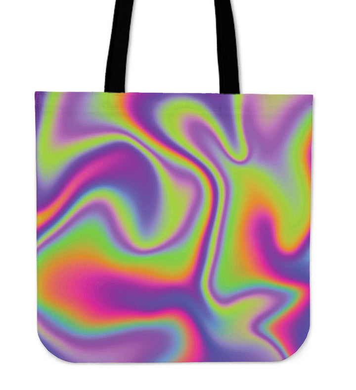 Abstract Holographic Trippy Print Tote Bag GearFrost