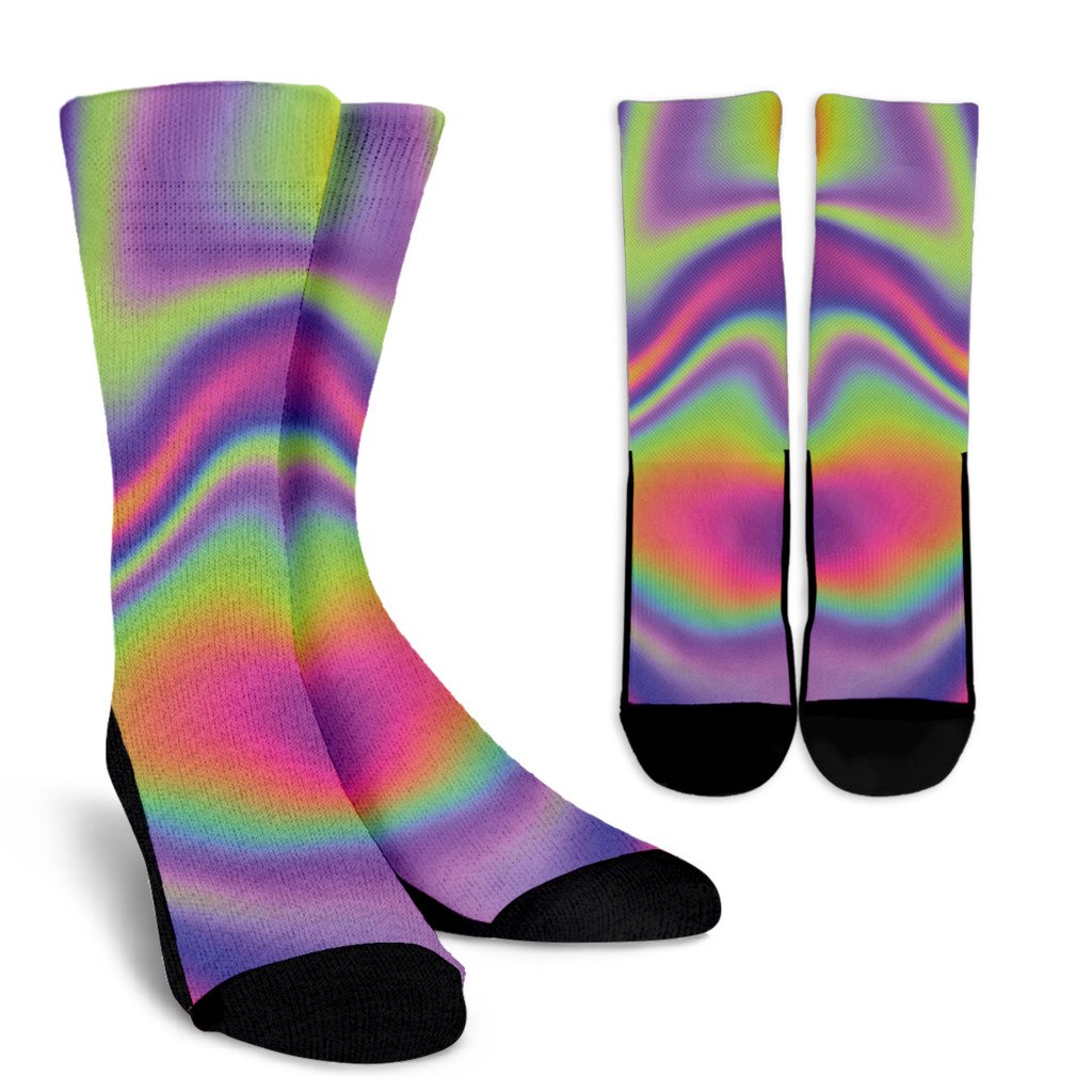 Abstract Holographic Trippy Print Unisex Crew Socks GearFrost