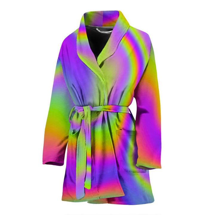 Abstract Holographic Trippy Print Women's Bathrobe GearFrost