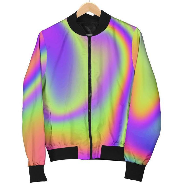 Abstract Holographic Trippy Print Women's Bomber Jacket GearFrost