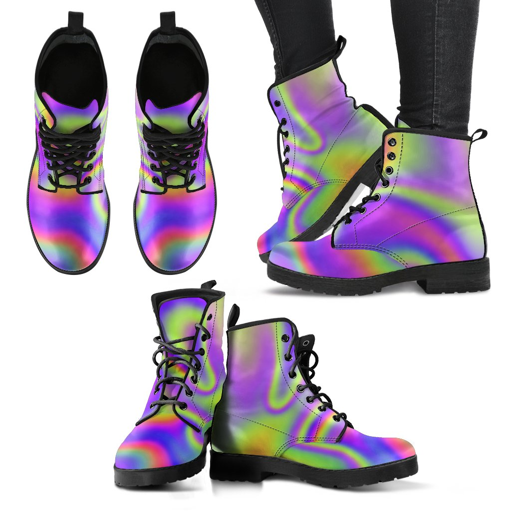 Abstract Holographic Trippy Print Women's Boots GearFrost
