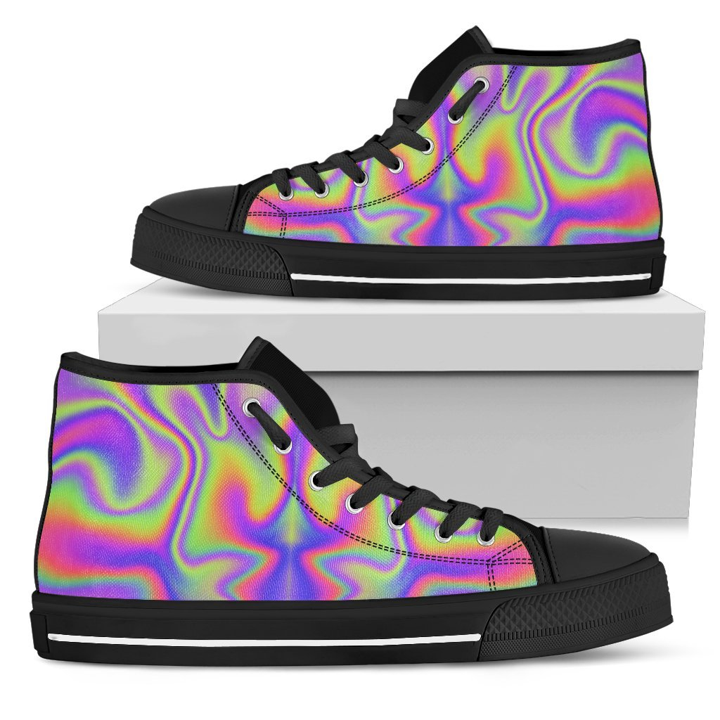 Abstract Holographic Trippy Print Women's High Top Shoes GearFrost