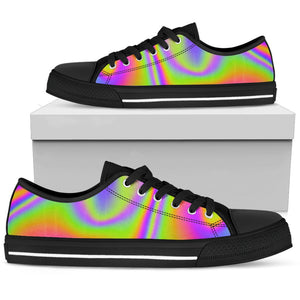 Abstract Holographic Trippy Print Women's Low Top Shoes GearFrost