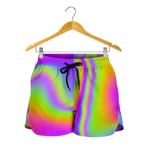 Abstract Holographic Trippy Print Women's Shorts GearFrost