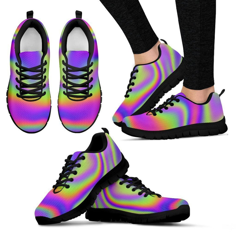 Abstract Holographic Trippy Print Women's Sneakers GearFrost
