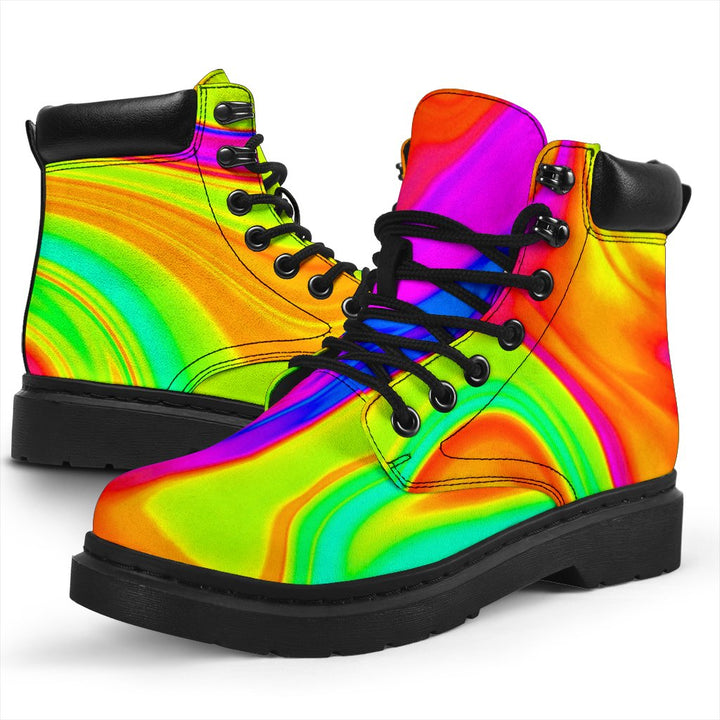 Abstract Liquid Trippy Print All Season Boots GearFrost