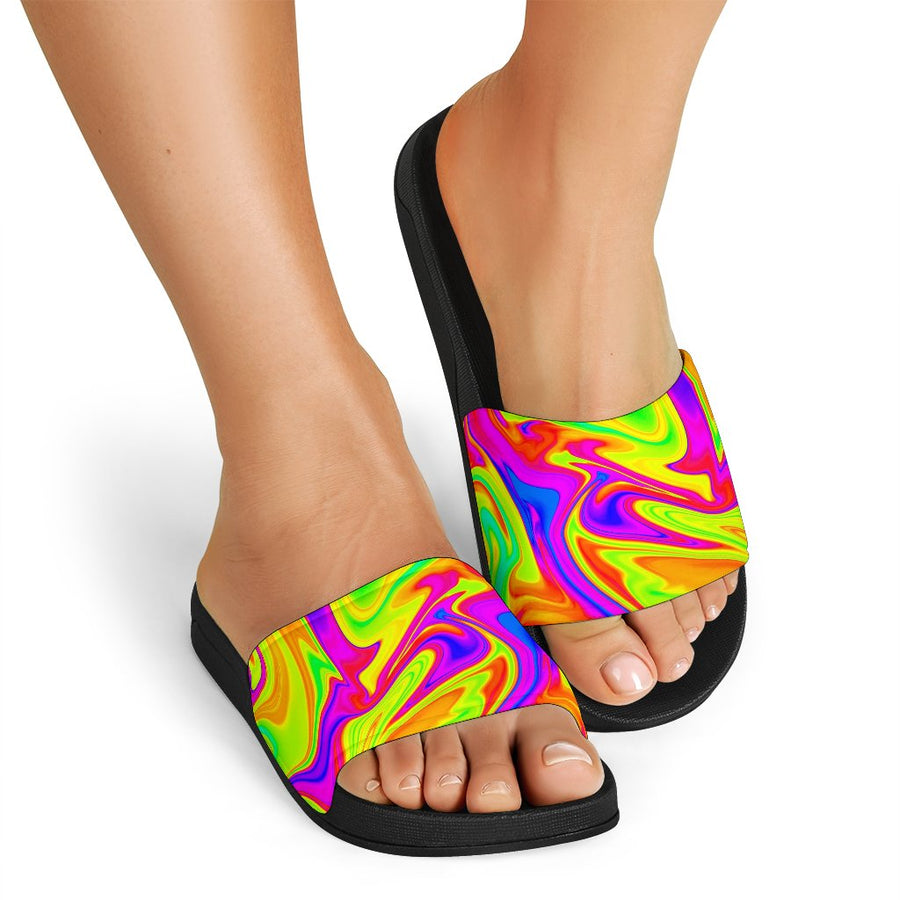 Abstract Liquid Trippy Print Black Slide Sandals GearFrost