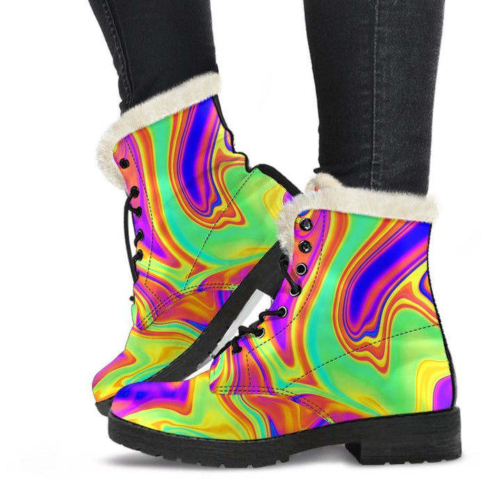 Abstract Liquid Trippy Print Comfy Boots GearFrost
