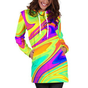 Abstract Liquid Trippy Print Hoodie Dress GearFrost
