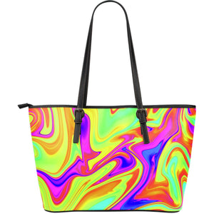 Abstract Liquid Trippy Print Leather Tote Bag GearFrost
