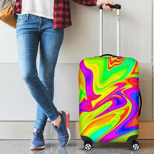 Abstract Liquid Trippy Print Luggage Cover GearFrost