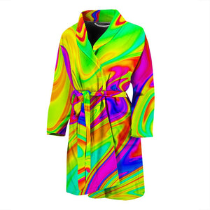 Abstract Liquid Trippy Print Men's Bathrobe GearFrost