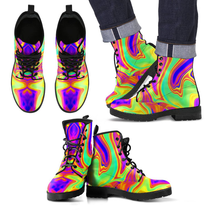 Abstract Liquid Trippy Print Men's Boots GearFrost