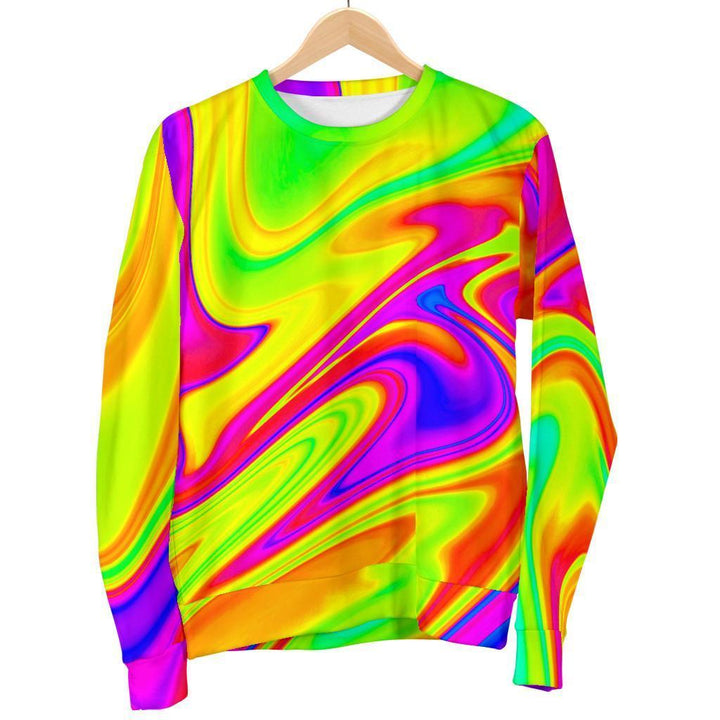 Abstract Liquid Trippy Print Men's Crewneck Sweatshirt GearFrost