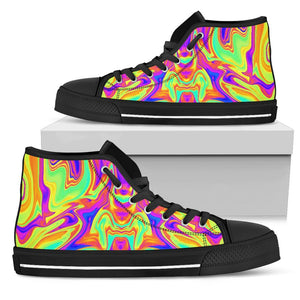 Abstract Liquid Trippy Print Men's High Top Shoes GearFrost