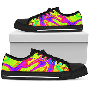 Abstract Liquid Trippy Print Men's Low Top Shoes GearFrost