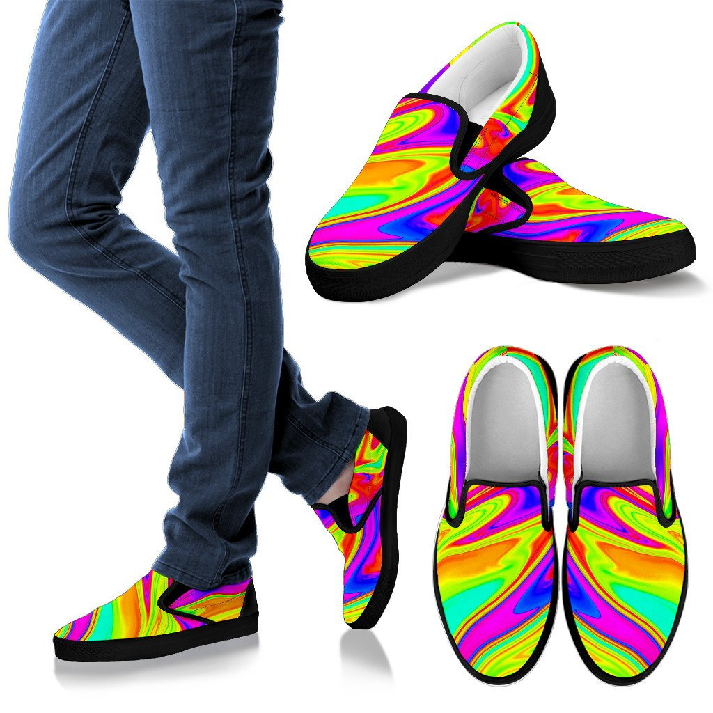Abstract Liquid Trippy Print Men's Slip On Shoes GearFrost