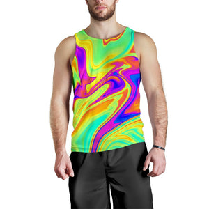 Abstract Liquid Trippy Print Men's Tank Top GearFrost