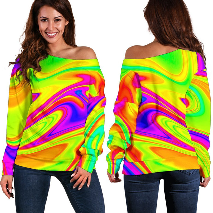 Abstract Liquid Trippy Print Off Shoulder Sweatshirt GearFrost