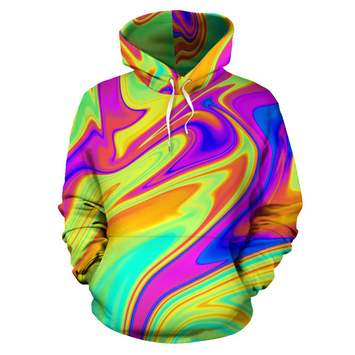 Abstract Liquid Trippy Print Pullover Hoodie GearFrost