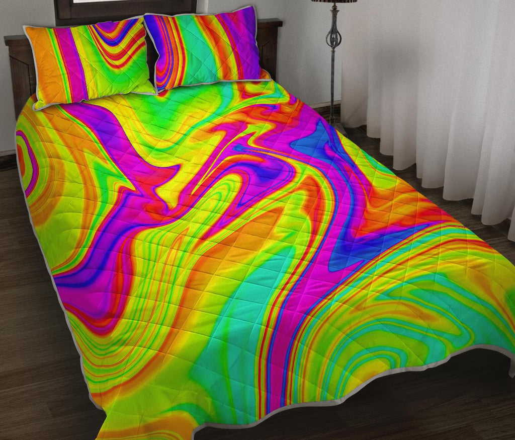 Abstract Liquid Trippy Print Quilt Bed Set GearFrost
