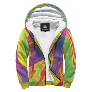 Abstract Liquid Trippy Print Sherpa Lined Fleece Hoodie GearFrost