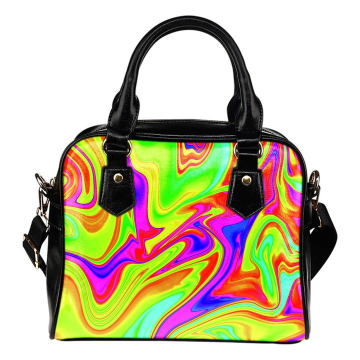 Abstract Liquid Trippy Print Shoulder Handbag GearFrost
