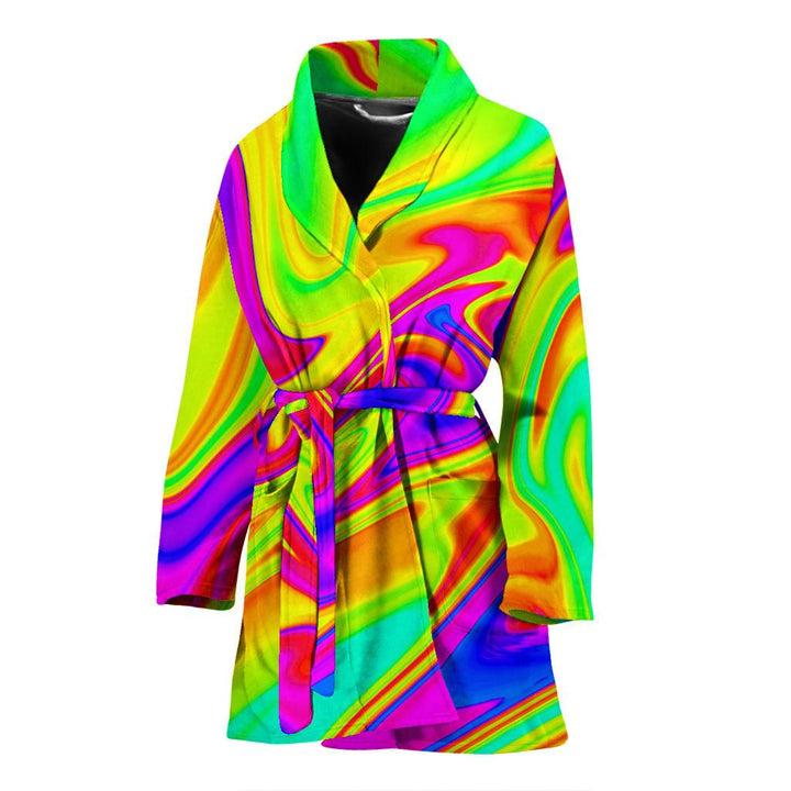 Abstract Liquid Trippy Print Women's Bathrobe GearFrost