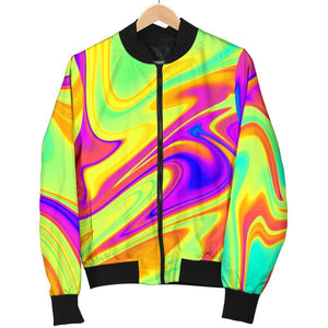 Abstract Liquid Trippy Print Women's Bomber Jacket GearFrost