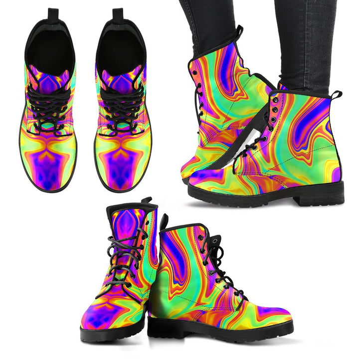 Abstract Liquid Trippy Print Women's Boots GearFrost
