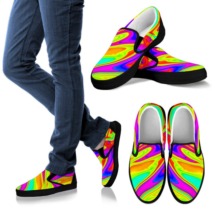 Abstract Liquid Trippy Print Women's Slip On Shoes GearFrost