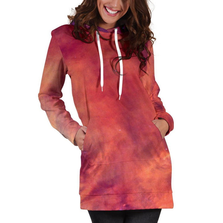 Abstract Nebula Cloud Galaxy Space Print Hoodie Dress GearFrost