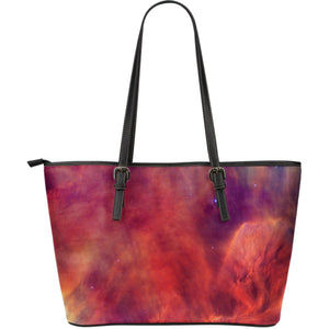 Abstract Nebula Cloud Galaxy Space Print Leather Tote Bag GearFrost